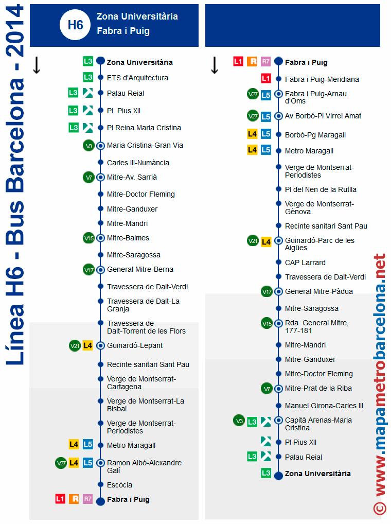 Bus l nea h6 zona universit ria fabra i puig barcelona for Linea barcelona