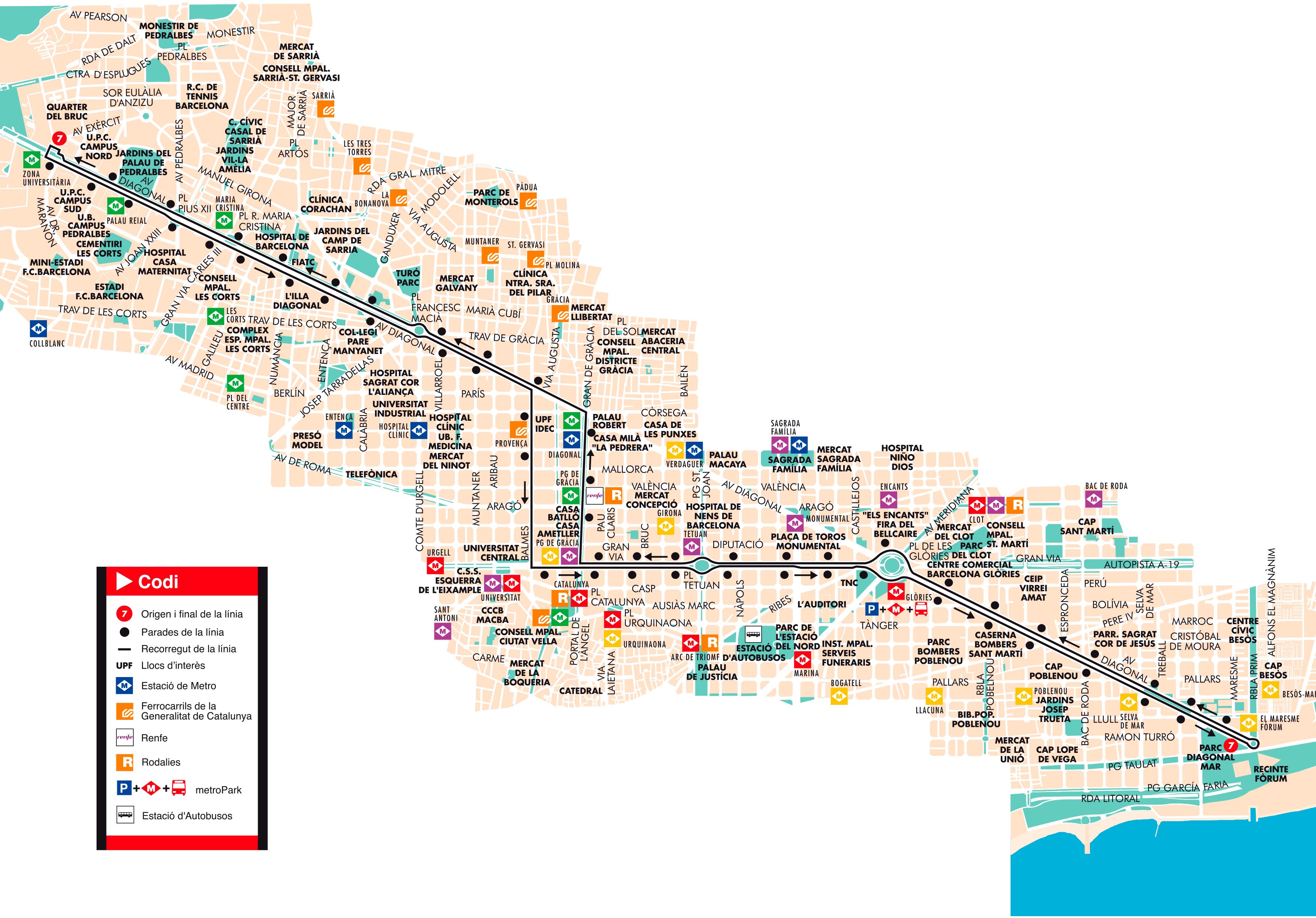 Bus l nea 7 diagonal mar zona universit ria de barcelona for Linea barcelona