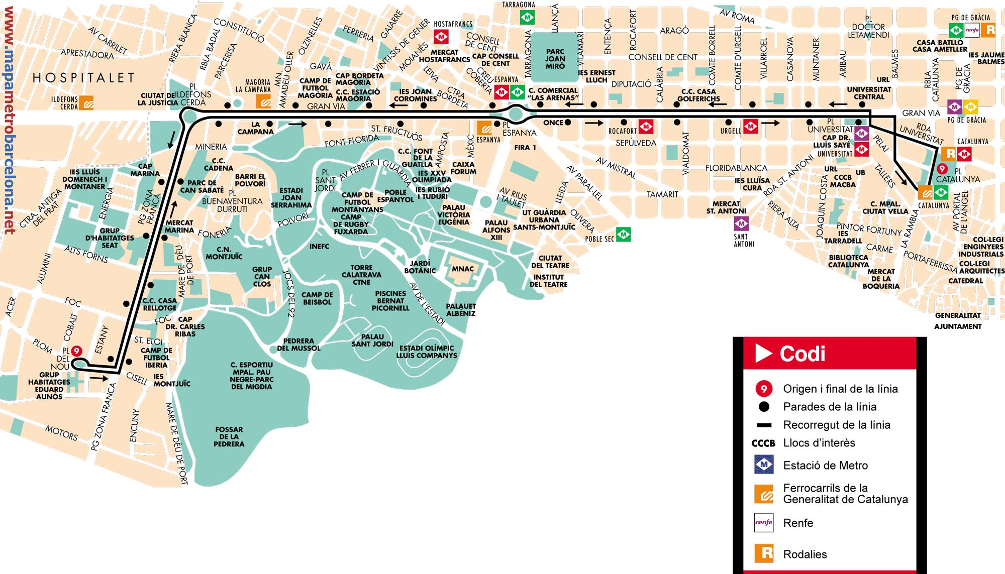 Bus line 9, Plaça Catalunya-Pg. Zona Franca, Barcelona, map, stops ...