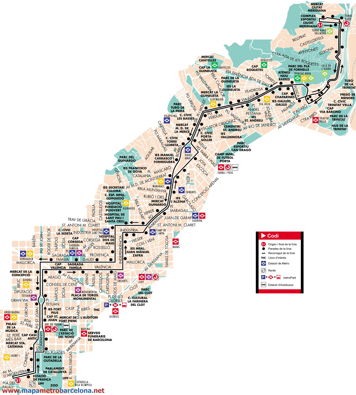 Bus l nea 51 pla de palau c meridiana de barcelona mapa for Linea barcelona