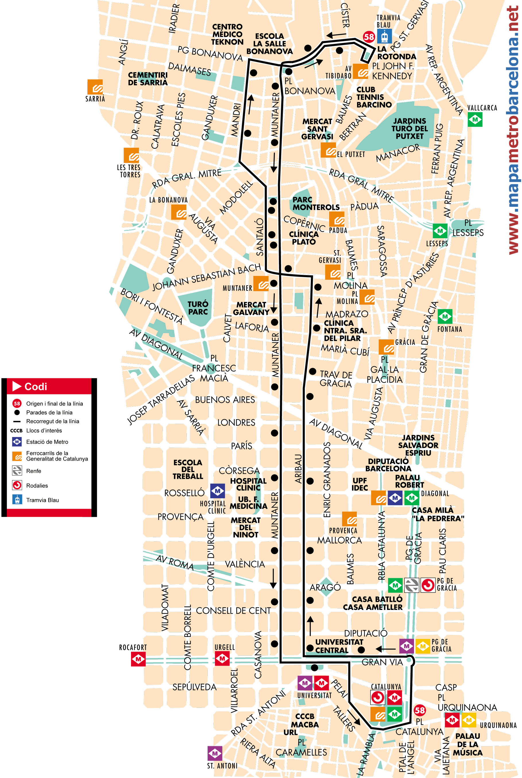 Bus line 58 Plaa CatalunyaAv Tibidabo Barcelona map stops and