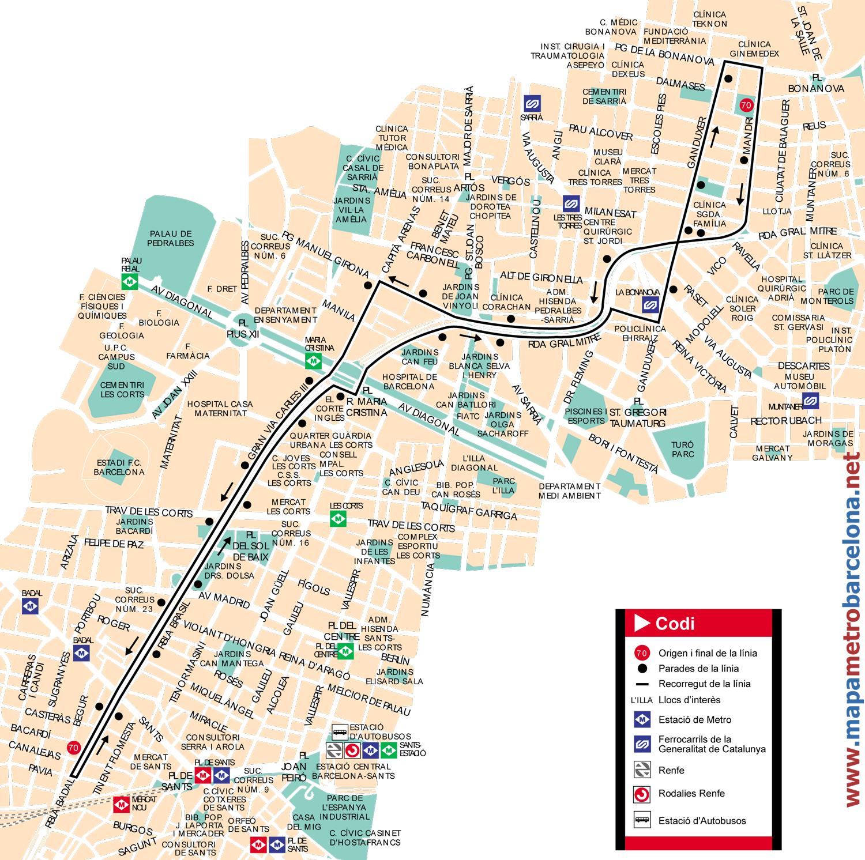 Bus Linea 70 Rambla De Badal Bonanova De Barcelona Mapa Paradas Y