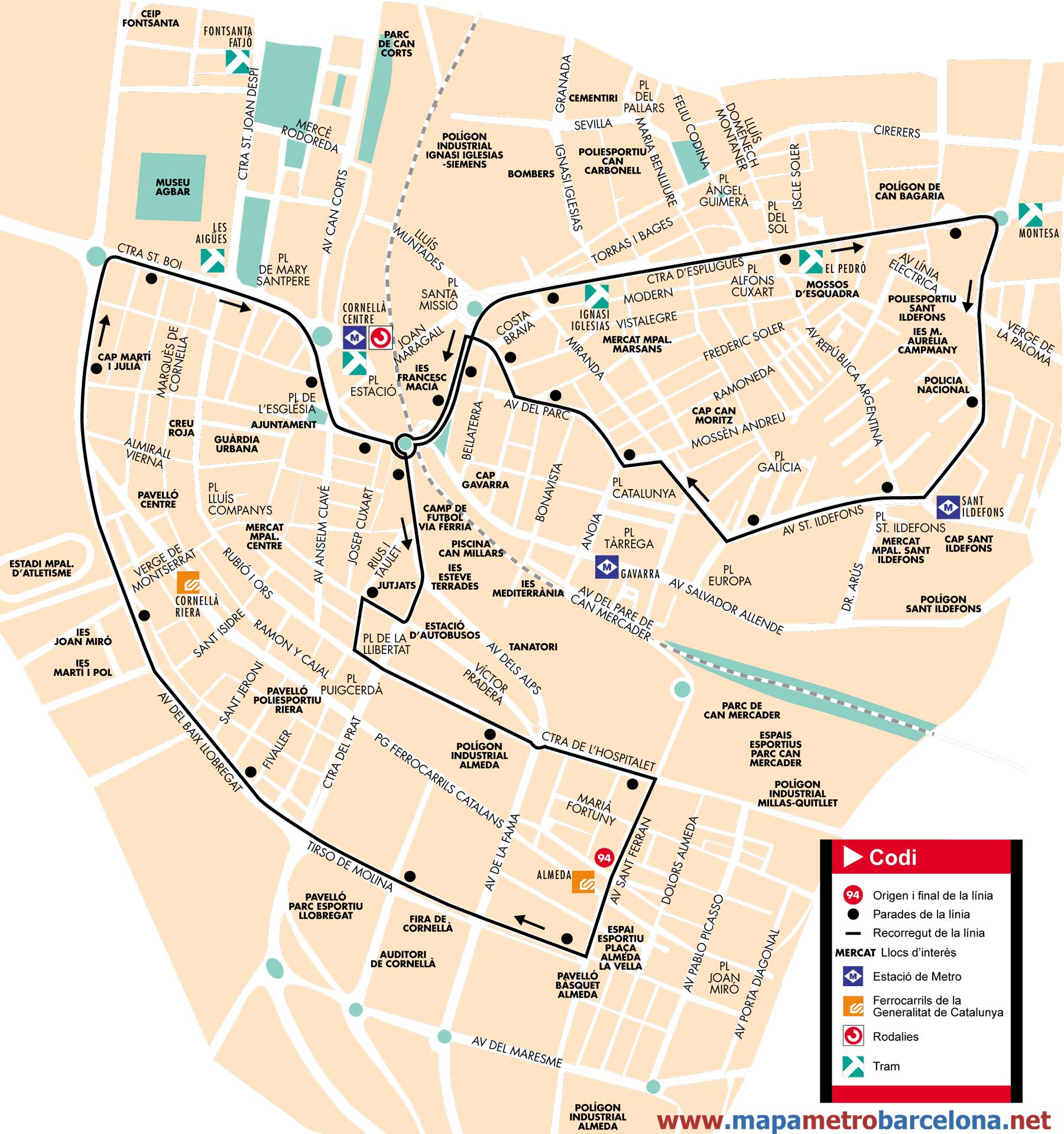 Bus line 94, Circular Cornellà 2, Barcelona, map, stops and ...