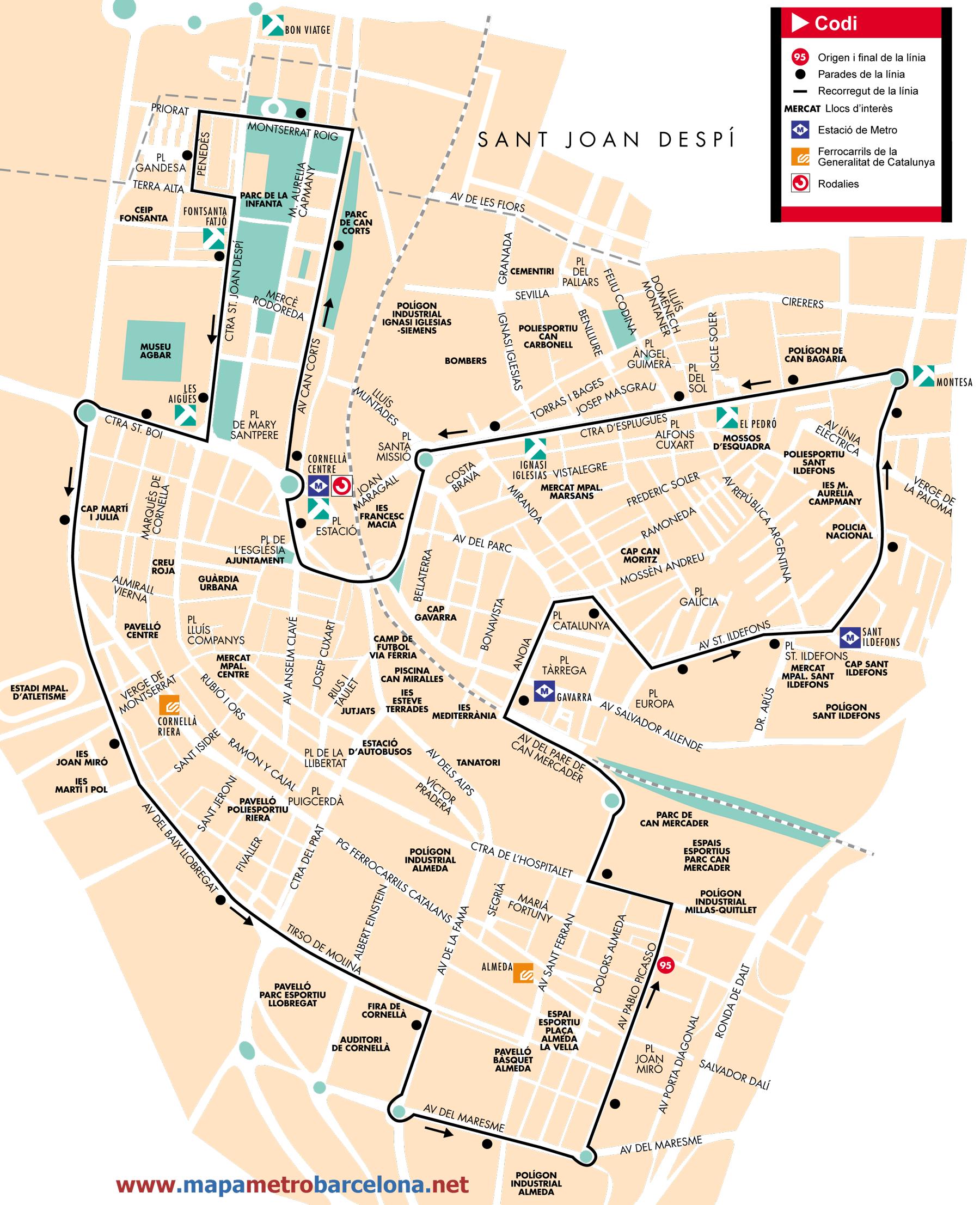 Bus line 95, Circular Cornellà 1, Barcelona, map, stops and ...