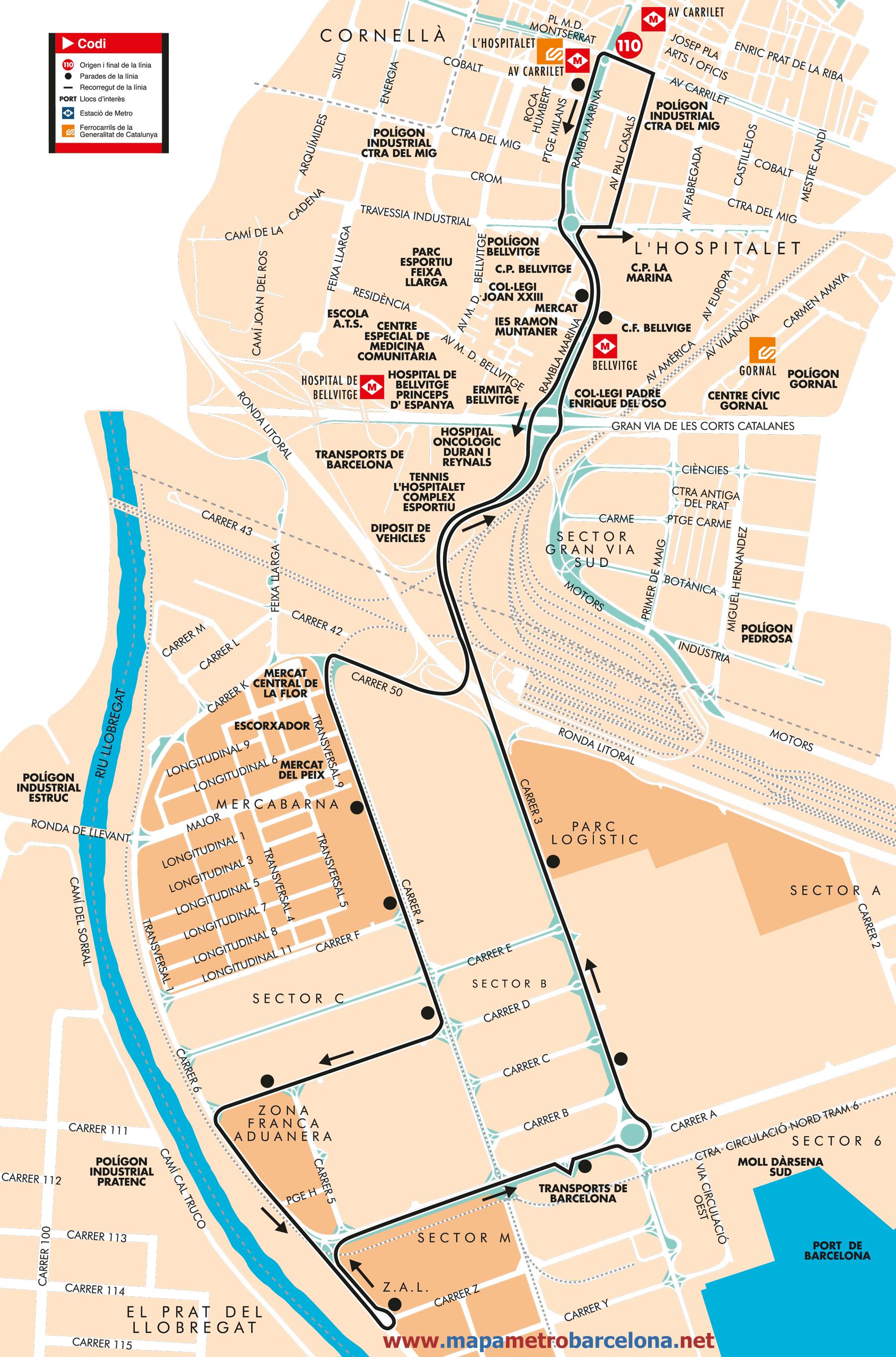 Bus l nea 110 metro carrilet pol gon industrial zona for Linea barcelona