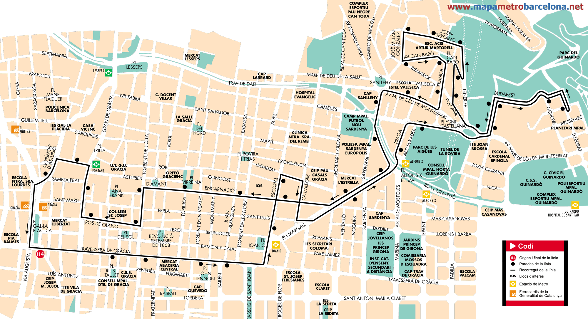 Bus line 114, Gràcia-Can Baró, Barcelona, map, stops and timetables