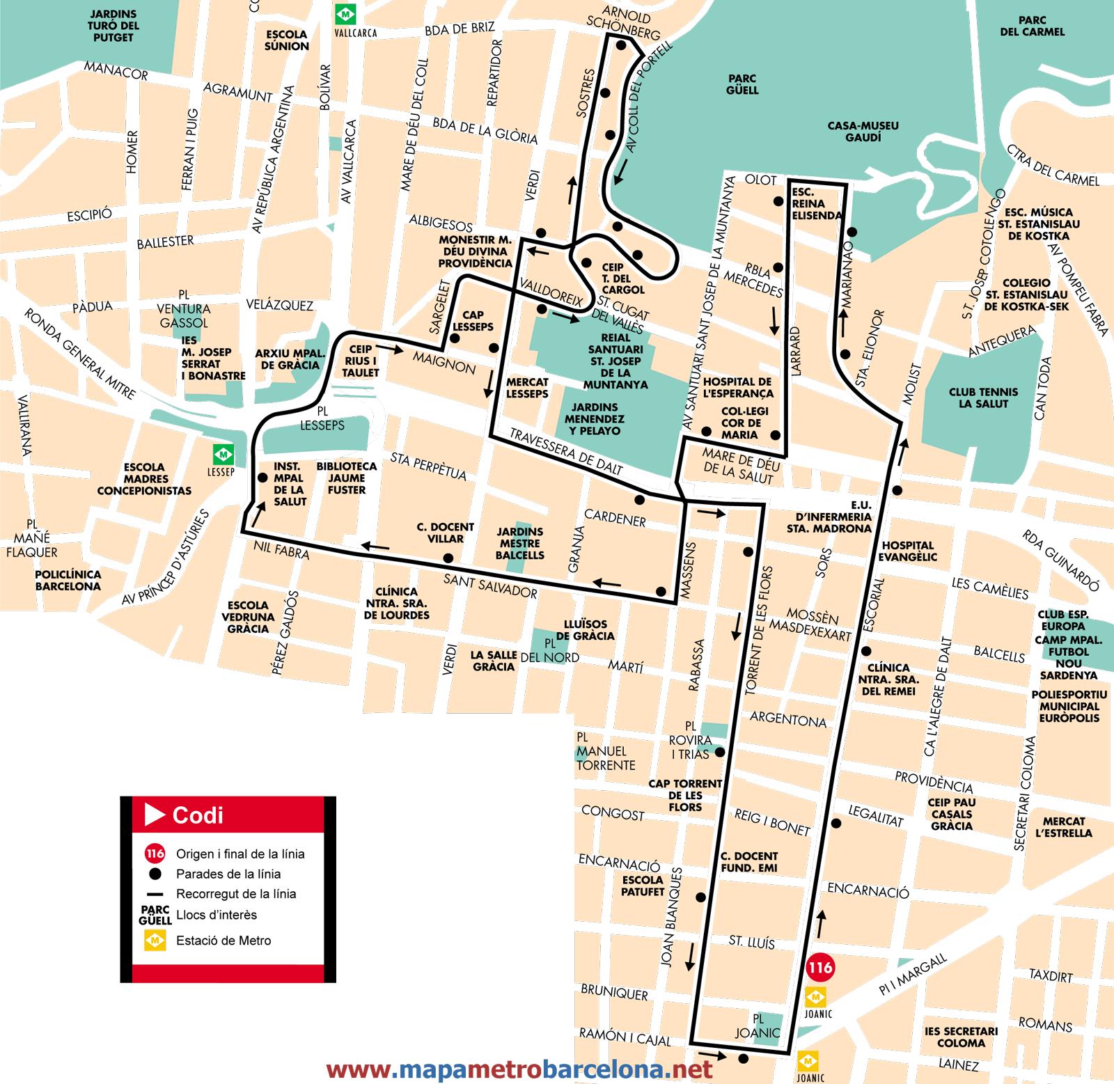 Bus l nea 116 la salut de barcelona mapa paradas y horarios for Linea barcelona