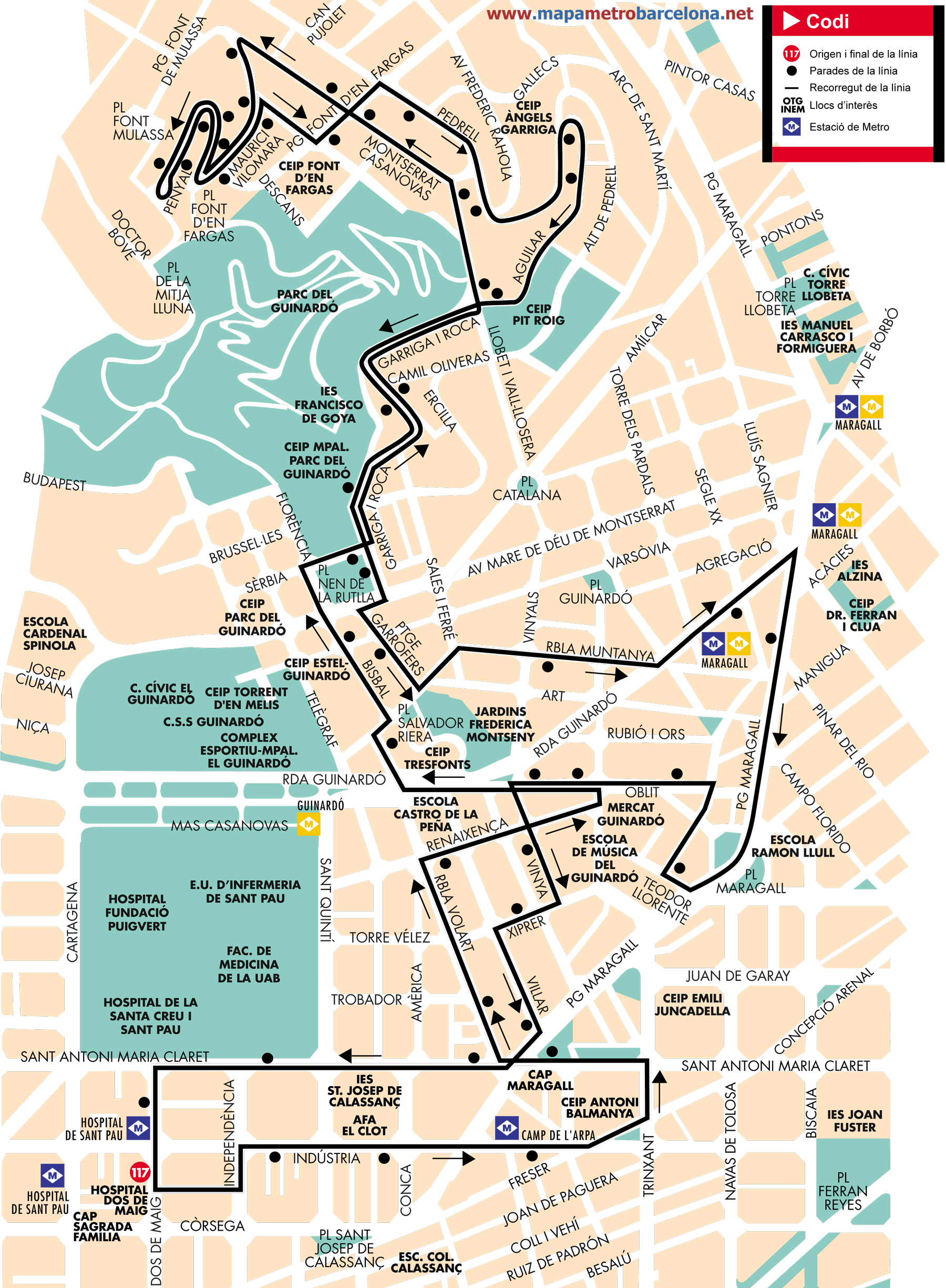 Bus line 117, Guinardó, Barcelona, map, stops and timetables  Bus Route Map on