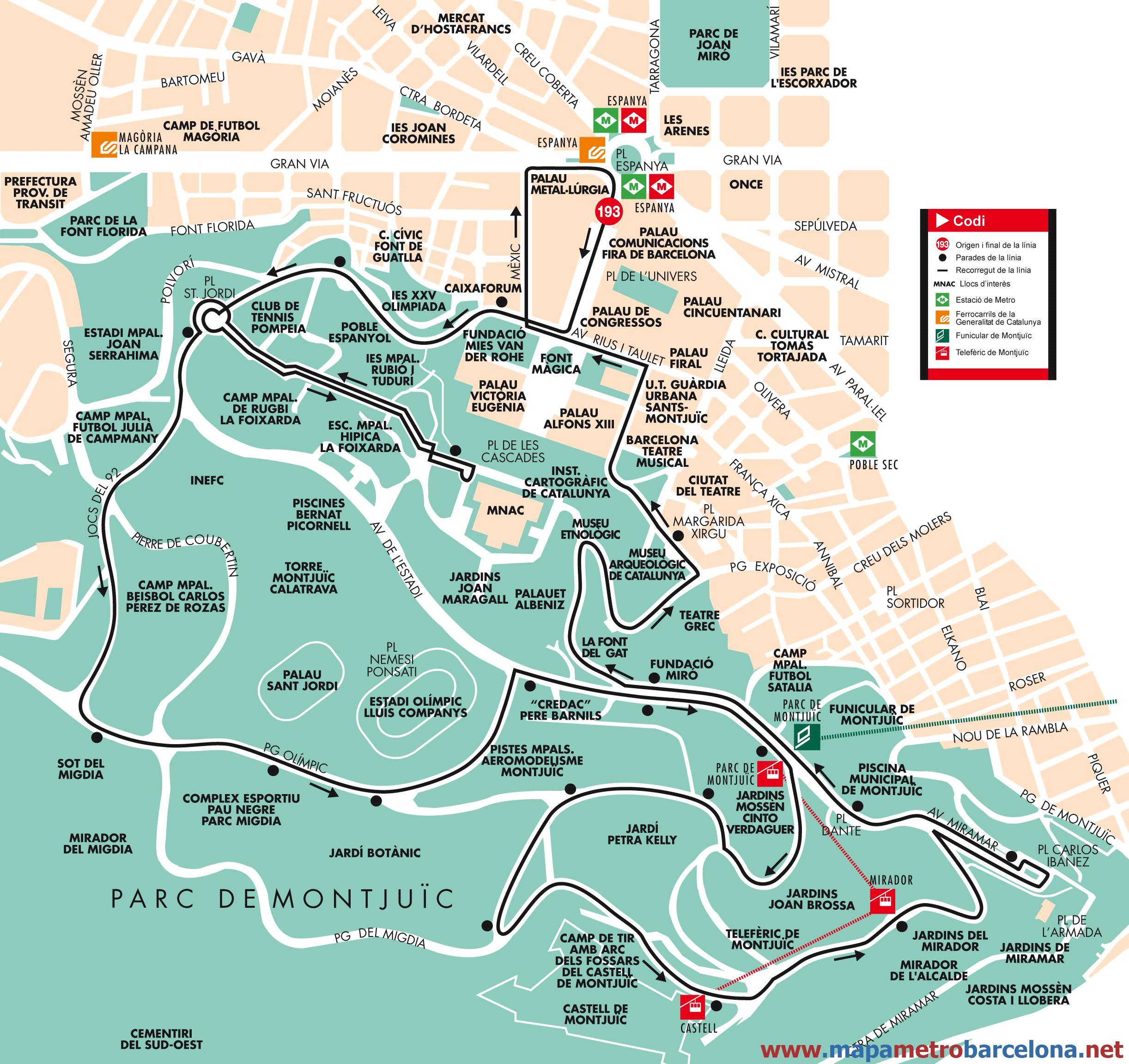 Bus line 193, Parc-Montjuïc, Barcelona, map, stops and ...