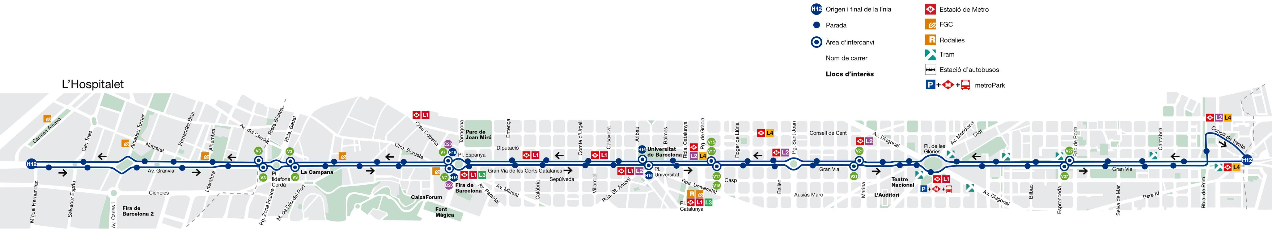 Bus l nea h12 gornal bes s verneda de barcelona mapa for Linea barcelona