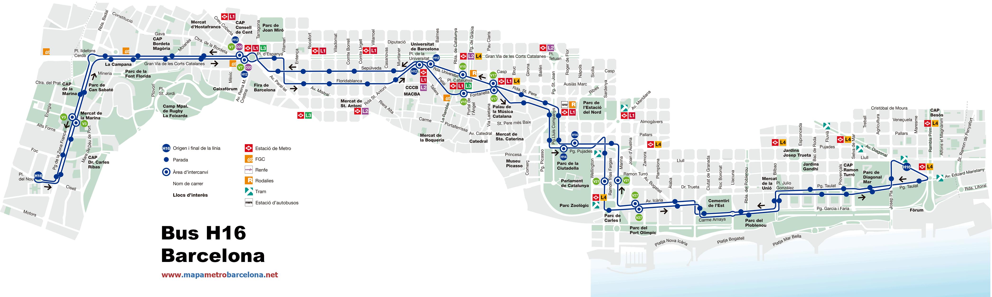 Bus l nea h16 pg zona franca f rum barcelona mapa for Linea barcelona