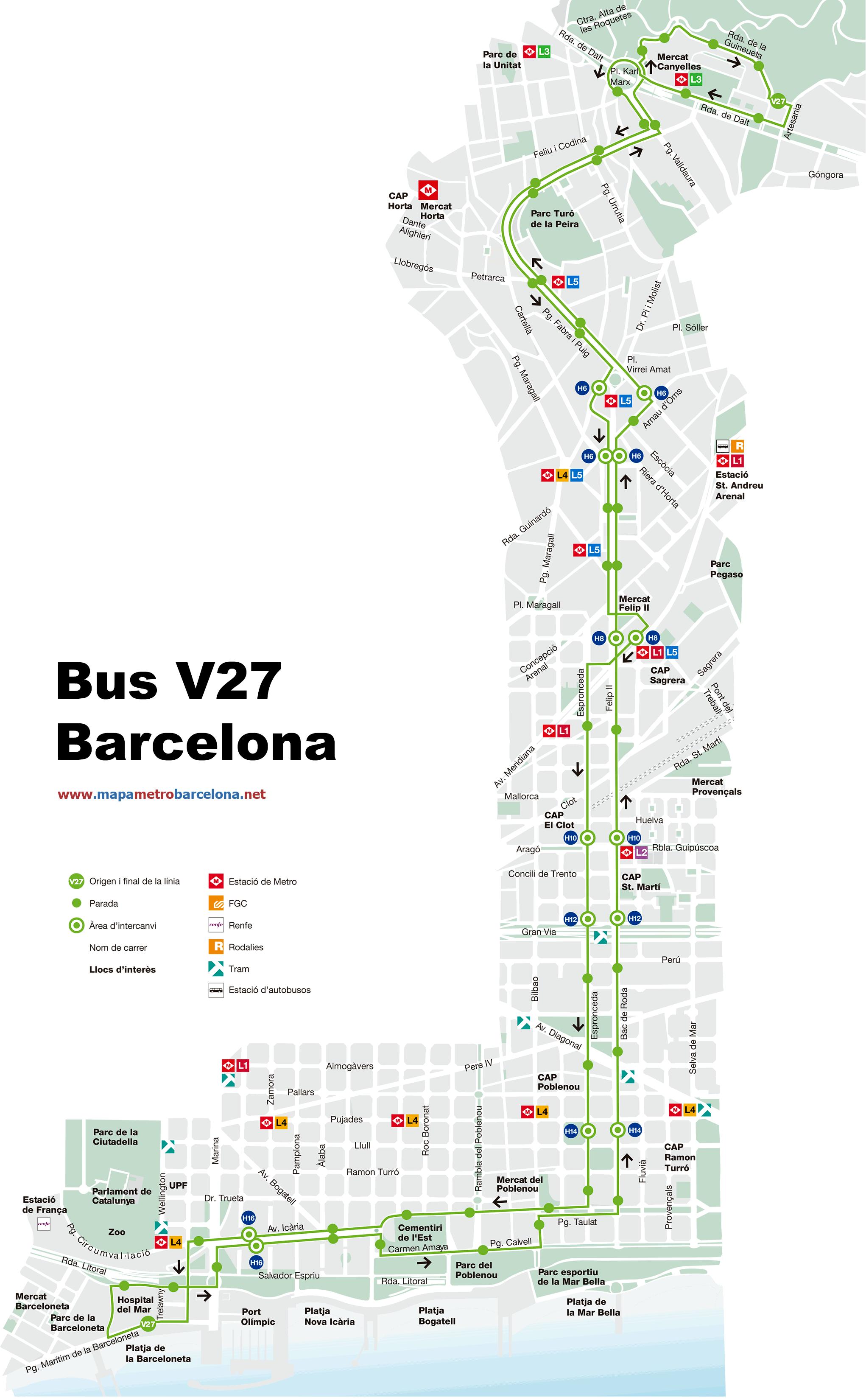 Bus l nea v27 pg mar tim canyelles barcelona mapa for Linea barcelona