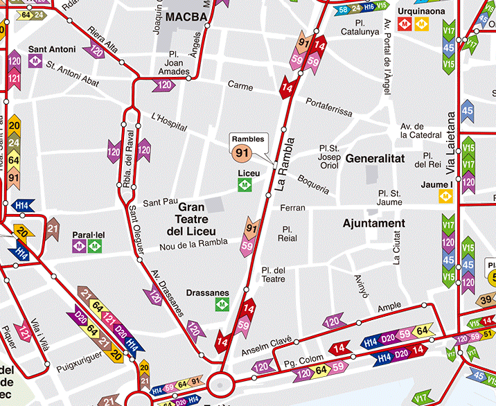 Barcelona bus map by zone
