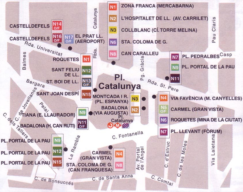 Night bus map of Barcelona