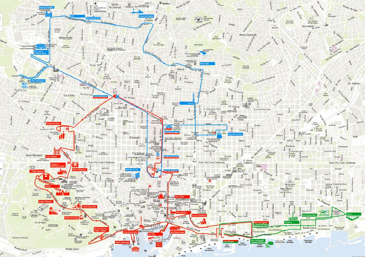 Mapa Del Autobus Turistico De Barcelona