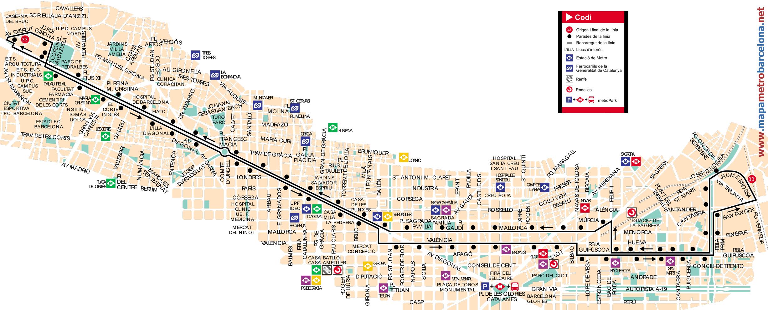 Bus l nea 33 zona universit ria verneda de barcelona for Linea barcelona