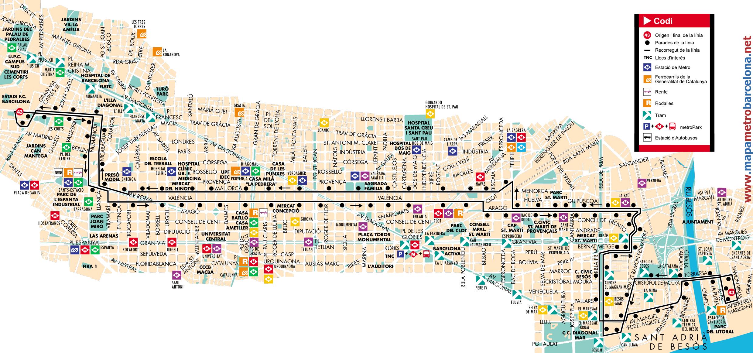 Bus l nea 43 les corts sant adri de barcelona mapa for Linea barcelona
