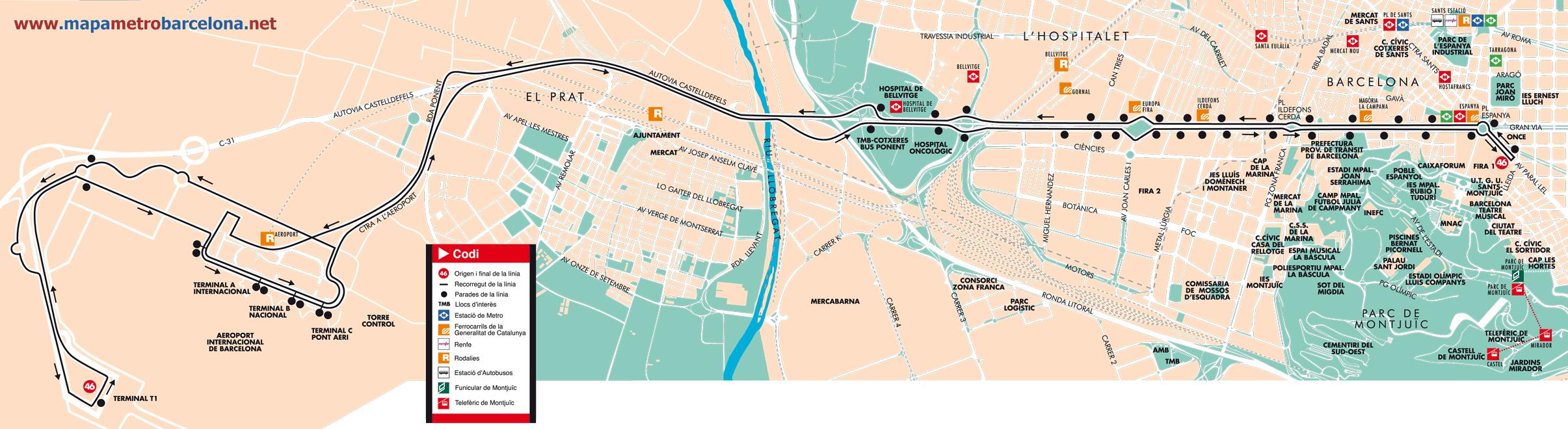Bus Line 46 Pla 231 A Espanya Aeroport Bcn Barcelona Map