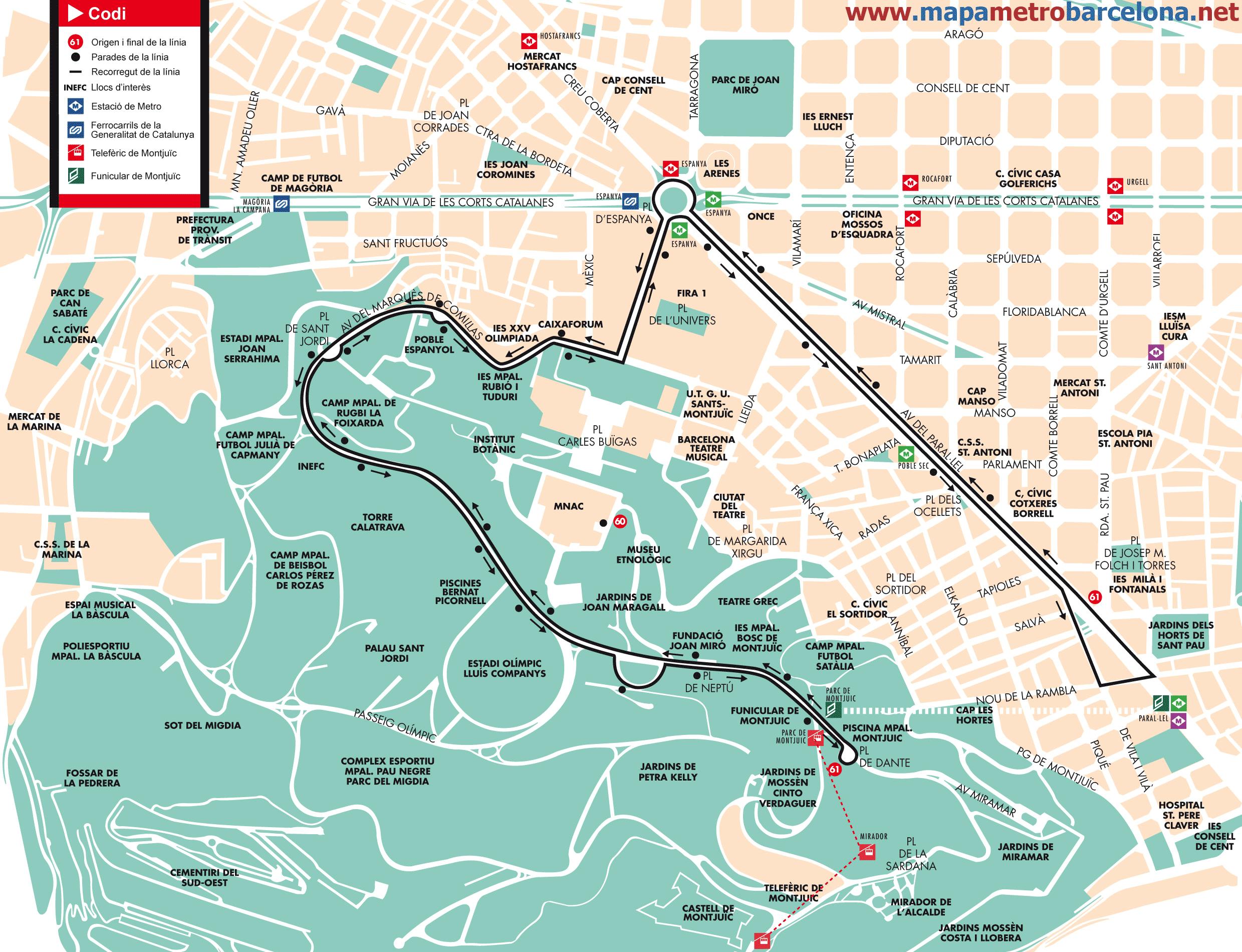 Bus Line 61 Poble Sec Parc Montju 239 C Barcelona Map