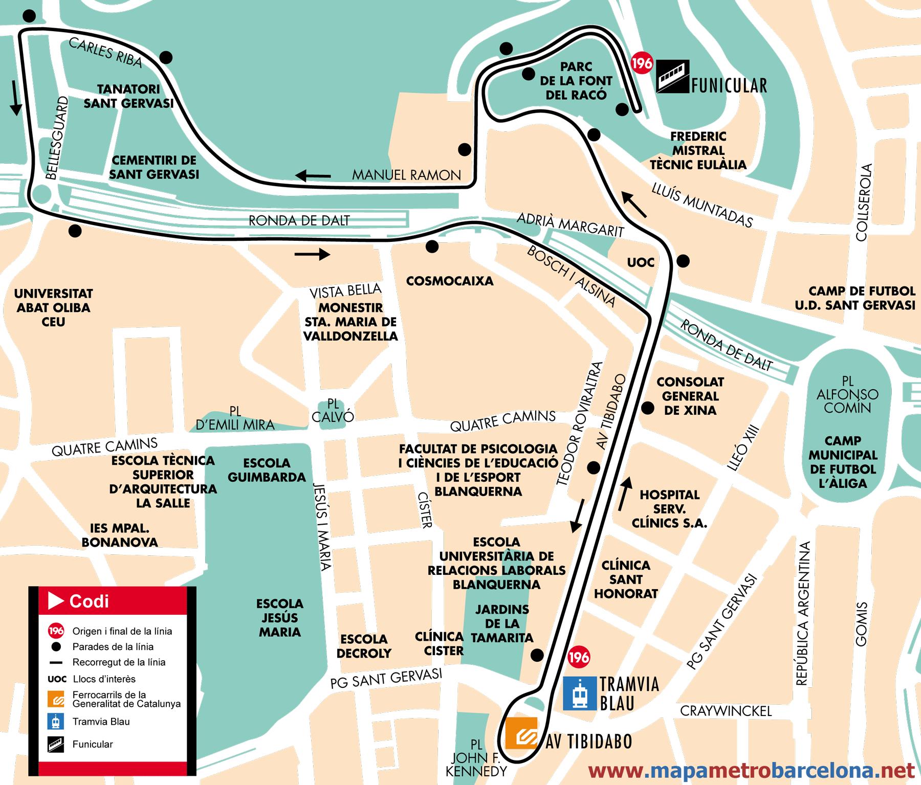Bus line 196 pla a kennedy bellesguard barcelona map - Placa kennedy barcelona ...