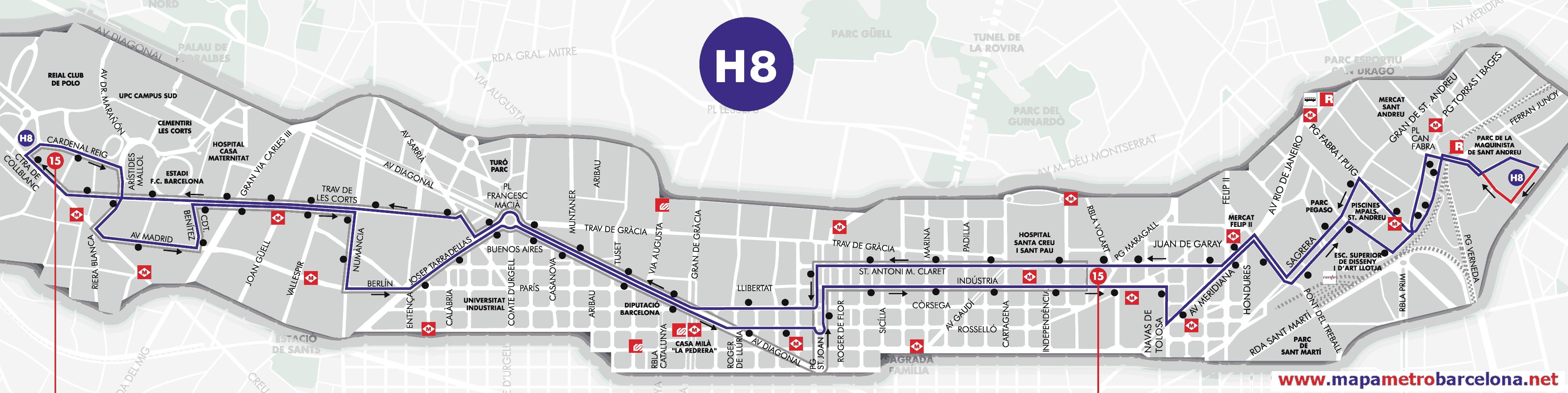 Bus l nea h8 camp nou la maquinista barcelona mapa for Linea barcelona