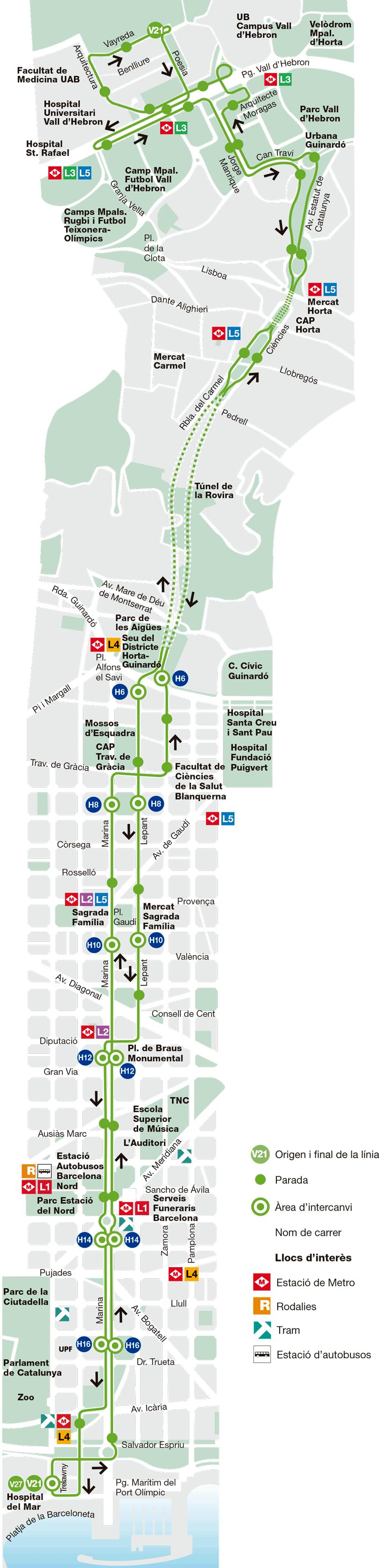 Bus l nea v21 montbau pg mar tim barcelona mapa for Linea barcelona