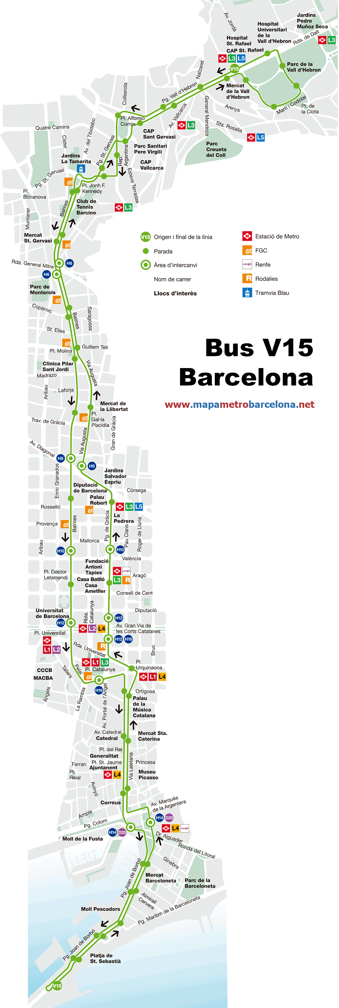 Bus line v15 barceloneta vall hebron barcelona map for Linea barcelona