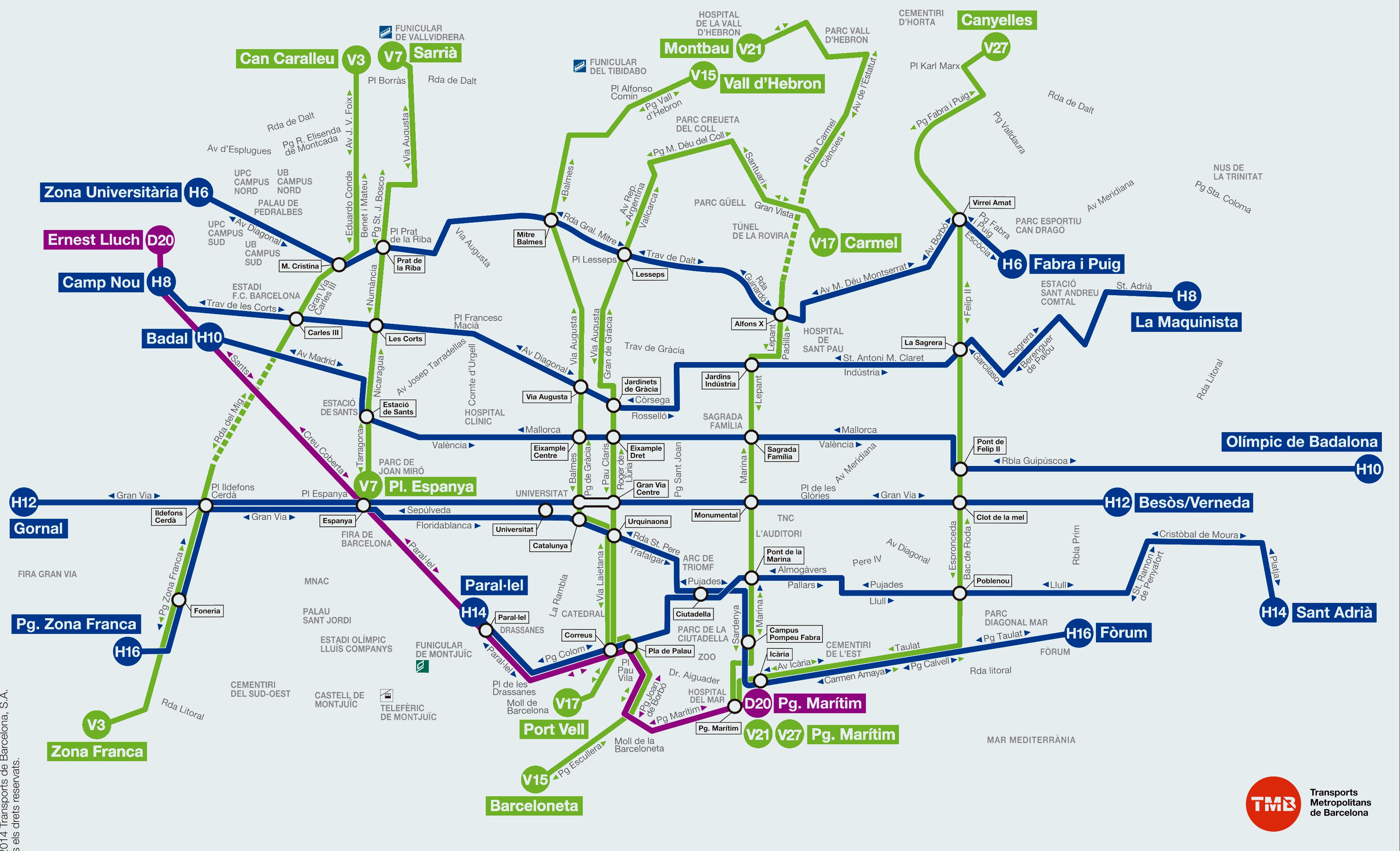 Bus l nea v7 pl espanya sarri barcelona mapa paradas for Linea barcelona