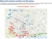 Tourist bus map of Barcelona