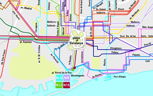 Night bus map of Barcelona (zoom zone)